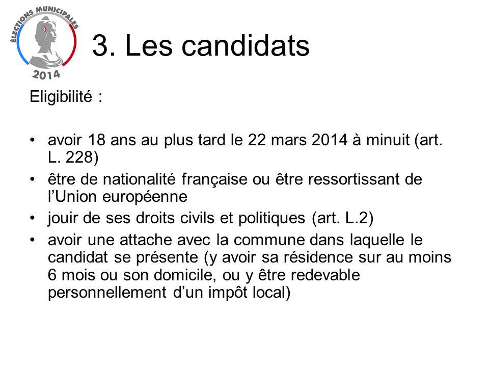 Eligibilité : avoir 18 ans au plus tard le 22 mars 2014 à minuit (art. L. 228) être de nationalité française ou être ressortissant de lUnion européenn