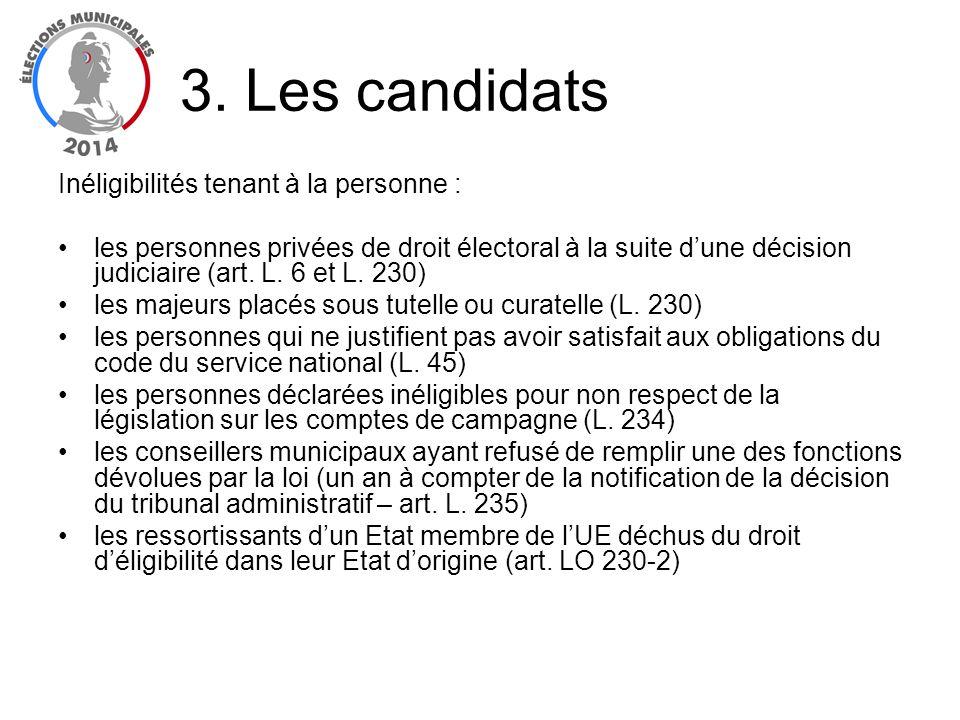Inéligibilités tenant à la personne : les personnes privées de droit électoral à la suite dune décision judiciaire (art. L. 6 et L. 230) les majeurs p