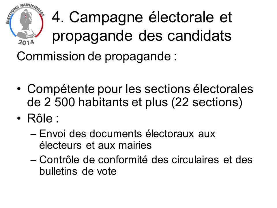Commission de propagande : Compétente pour les sections électorales de 2 500 habitants et plus (22 sections) Rôle : –Envoi des documents électoraux au