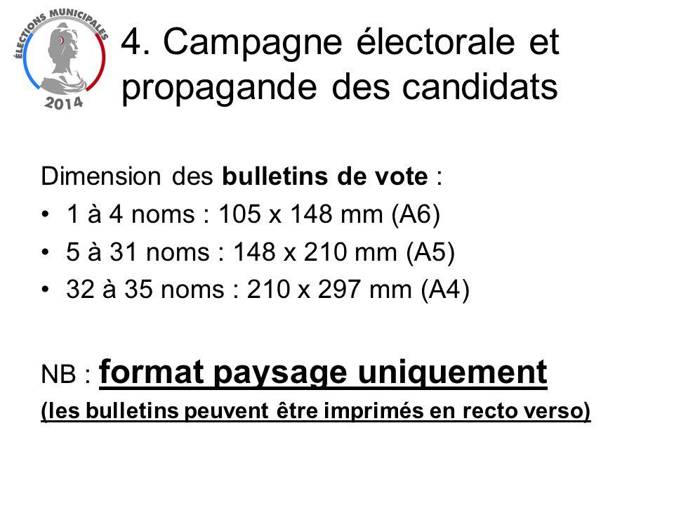 Dimension des bulletins de vote : 1 à 4 noms : 105 x 148 mm (A6) 5 à 31 noms : 148 x 210 mm (A5) 32 à 35 noms : 210 x 297 mm (A4) NB : format paysage
