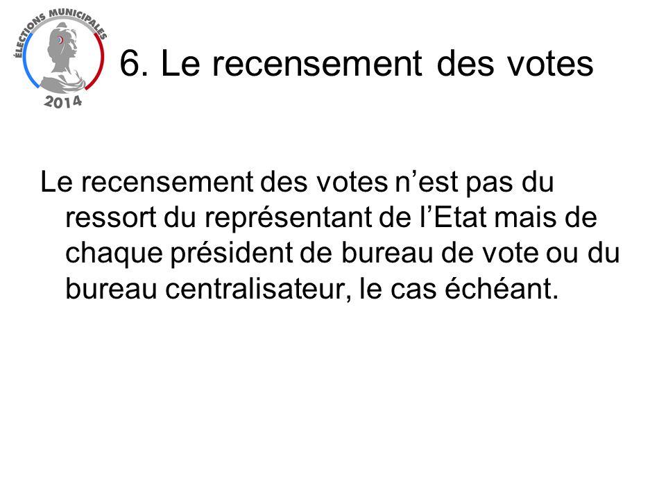 Le recensement des votes nest pas du ressort du représentant de lEtat mais de chaque président de bureau de vote ou du bureau centralisateur, le cas é