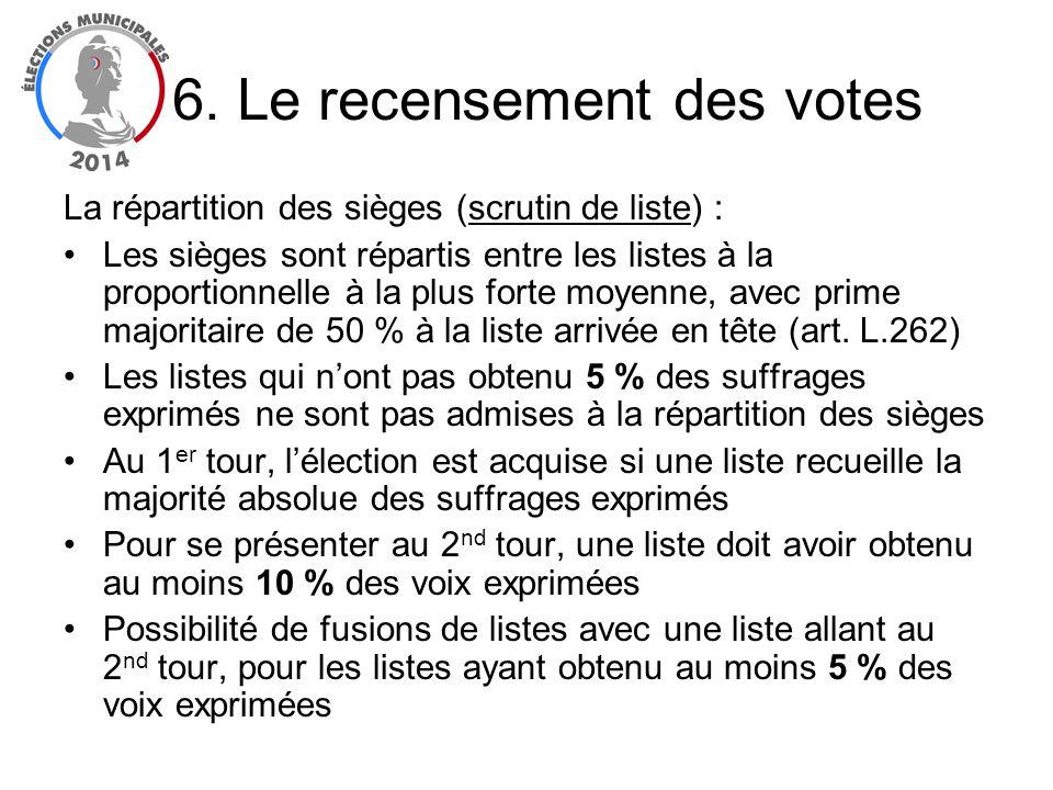 La répartition des sièges (scrutin de liste) : Les sièges sont répartis entre les listes à la proportionnelle à la plus forte moyenne, avec prime majo