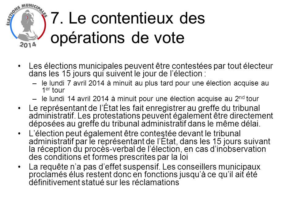 Les élections municipales peuvent être contestées par tout électeur dans les 15 jours qui suivent le jour de lélection : –le lundi 7 avril 2014 à minu
