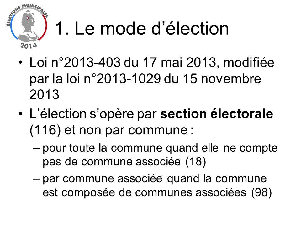 1. Le mode délection Loi n°2013-403 du 17 mai 2013, modifiée par la loi n°2013-1029 du 15 novembre 2013 Lélection sopère par section électorale (116)