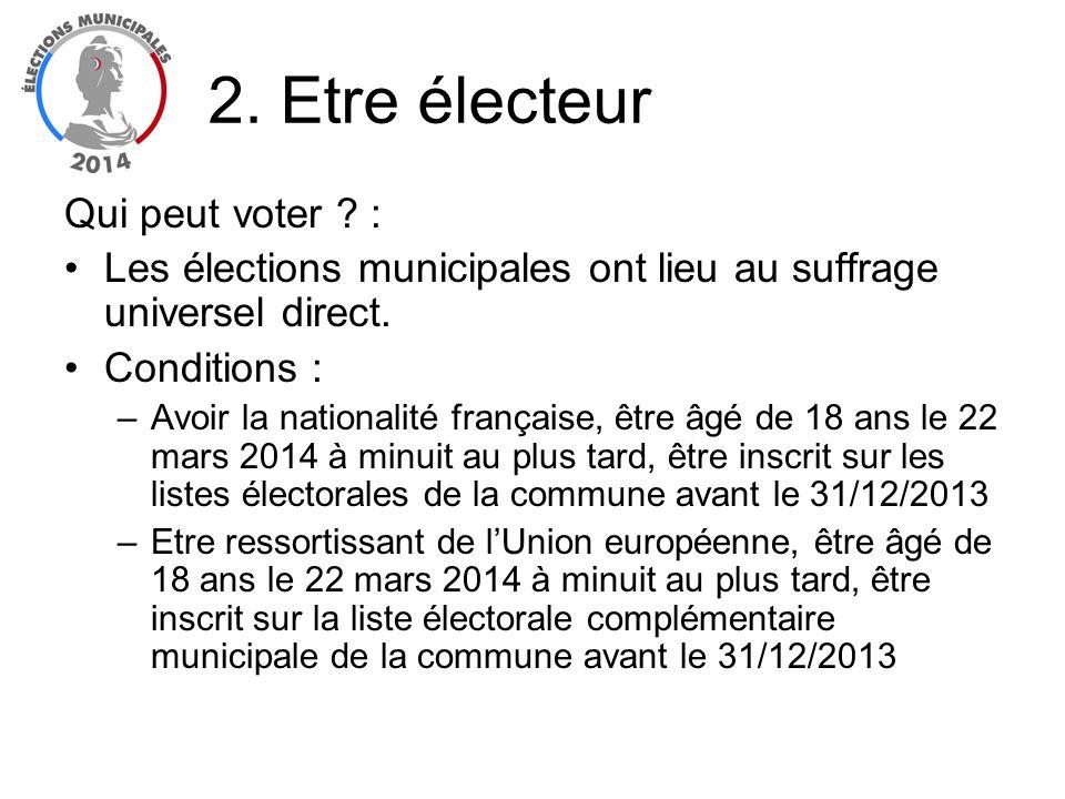 Qui peut voter ? : Les élections municipales ont lieu au suffrage universel direct. Conditions : –Avoir la nationalité française, être âgé de 18 ans l