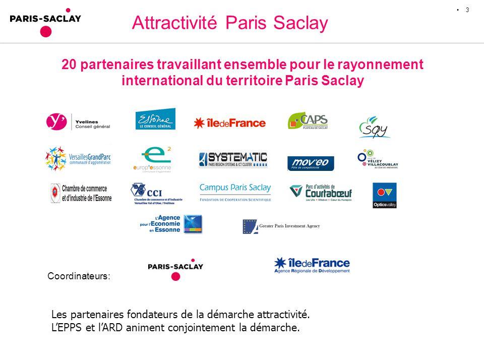 Attractivité Paris Saclay 3 20 partenaires travaillant ensemble pour le rayonnement international du territoire Paris Saclay Coordinateurs: Les partenaires fondateurs de la démarche attractivité.