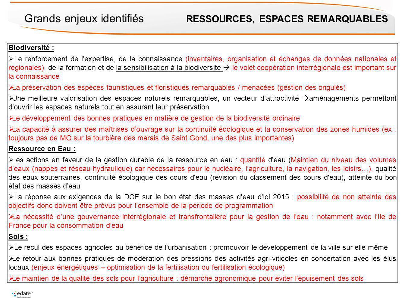 Grands enjeux identifiés RESSOURCES, ESPACES REMARQUABLES Biodiversité : Le renforcement de lexpertise, de la connaissance (inventaires, organisation