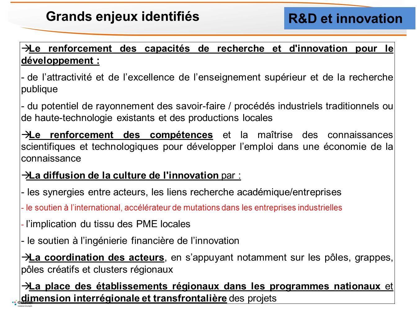 Grands enjeux identifiés Le renforcement des capacités de recherche et d'innovation pour le développement : - de lattractivité et de lexcellence de le