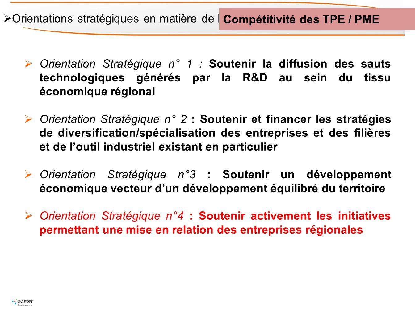 Orientation Stratégique n° 1 : Soutenir la diffusion des sauts technologiques générés par la R&D au sein du tissu économique régional Orientation Stra