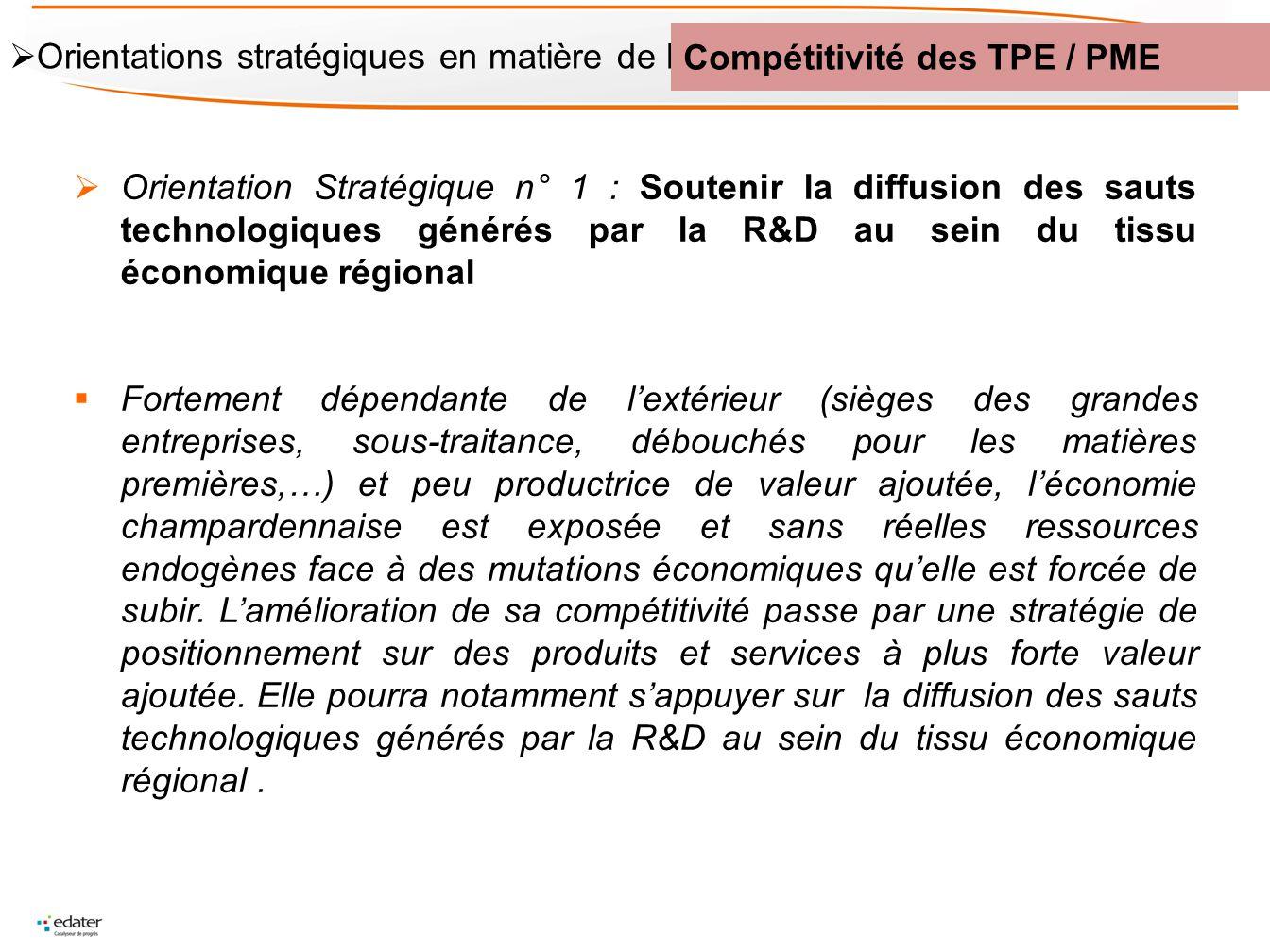 Orientation Stratégique n° 1 : Soutenir la diffusion des sauts technologiques générés par la R&D au sein du tissu économique régional Fortement dépend
