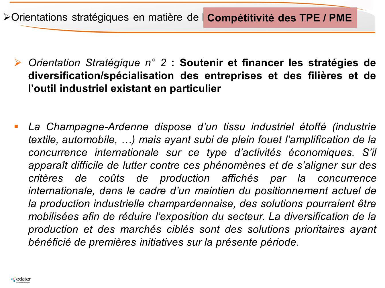 Orientation Stratégique n° 2 : Soutenir et financer les stratégies de diversification/spécialisation des entreprises et des filières et de loutil indu