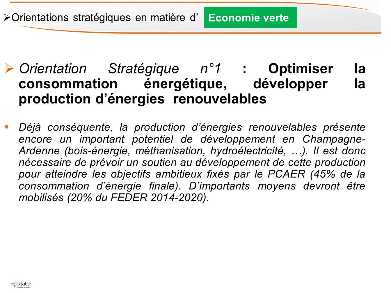 Orientation Stratégique n°1 : Optimiser la consommation énergétique, développer la production dénergies renouvelables Déjà conséquente, la production