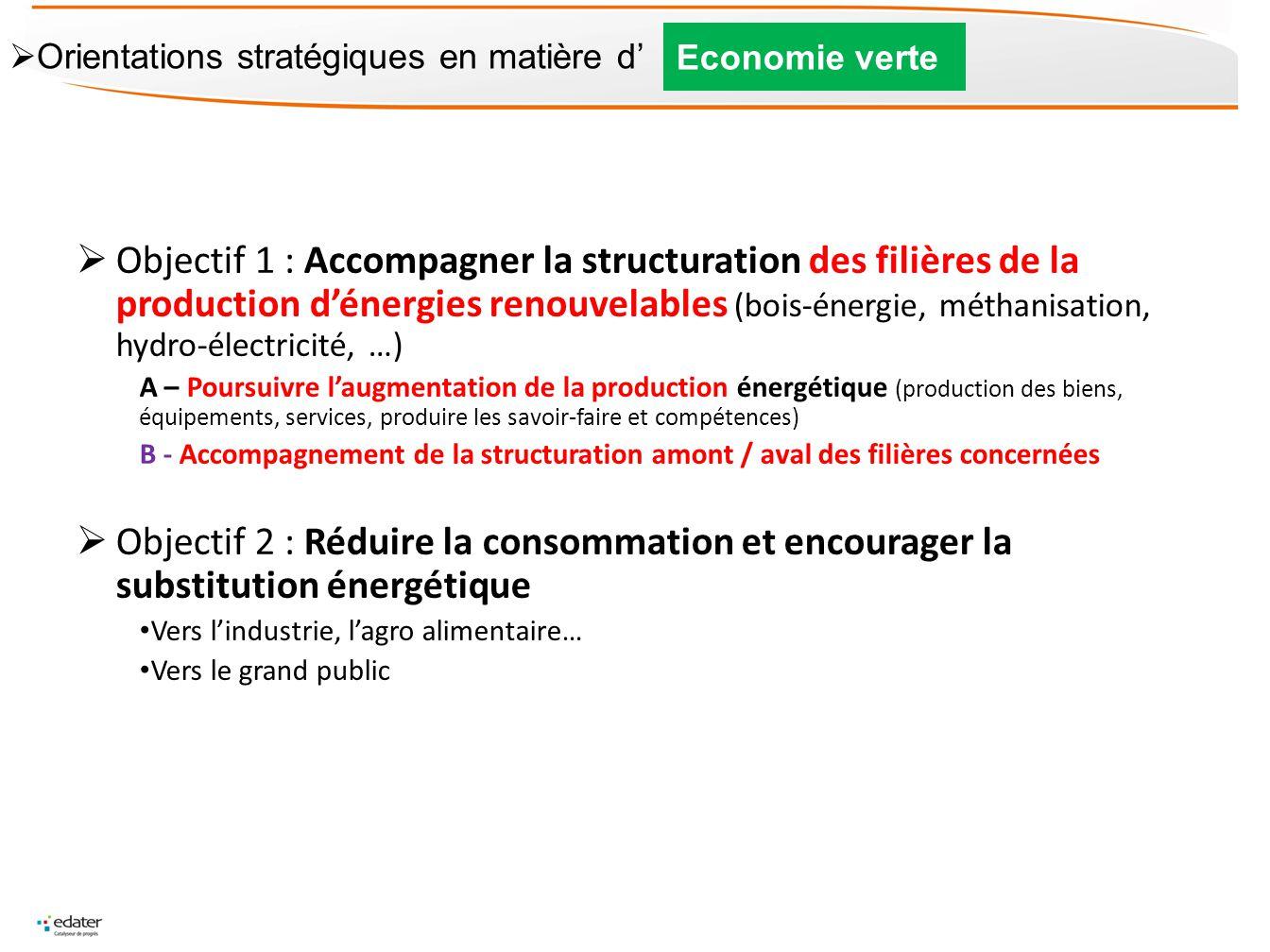 Objectif 1 : Accompagner la structuration des filières de la production dénergies renouvelables (bois-énergie, méthanisation, hydro-électricité, …) A
