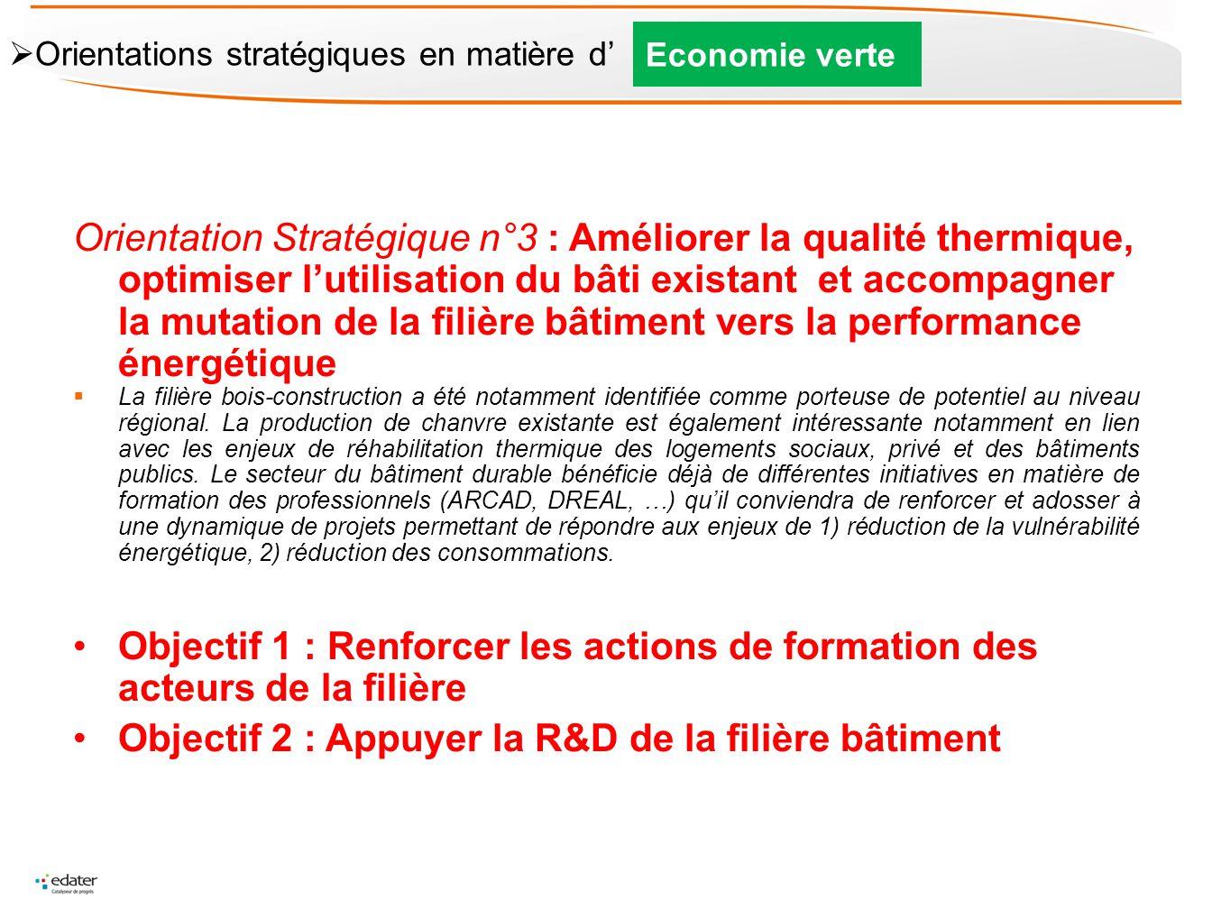 Orientation Stratégique n°3 : Améliorer la qualité thermique, optimiser lutilisation du bâti existant et accompagner la mutation de la filière bâtimen
