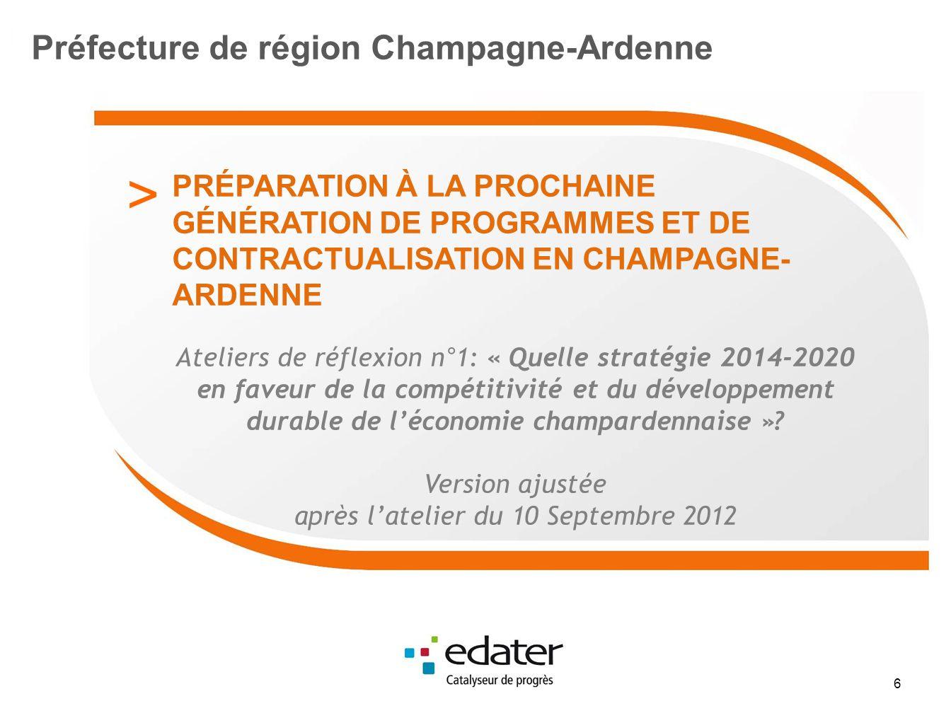 Orientations stratégiques identifiées en matière de R&D et dinnovation R&D et innovation Orientation Stratégique n° 1 : Cibler la R&D vers les domaines les plus porteurs de compétitivité, de croissance et demploi pour léconomie champardennaise Orientation Stratégique n° 2 : Organiser lécosystème de la R&D régionale pour atteindre la rupture technologique dans les domaines stratégiques