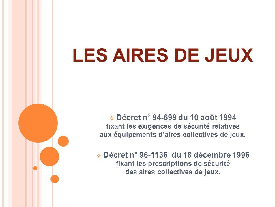 LES AIRES DE JEUX Décret n° 94-699 du 10 août 1994 fixant les exigences de sécurité relatives aux équipements daires collectives de jeux. Décret n° 96