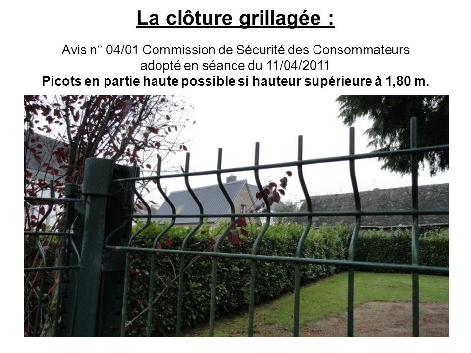La clôture grillagée : Avis n° 04/01 Commission de Sécurité des Consommateurs adopté en séance du 11/04/2011 Picots en partie haute possible si hauteu