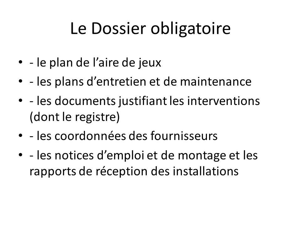 Le Dossier obligatoire - le plan de laire de jeux - les plans dentretien et de maintenance - les documents justifiant les interventions (dont le regis