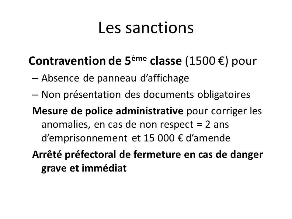 Les sanctions Contravention de 5 ème classe (1500 ) pour – Absence de panneau daffichage – Non présentation des documents obligatoires Mesure de polic