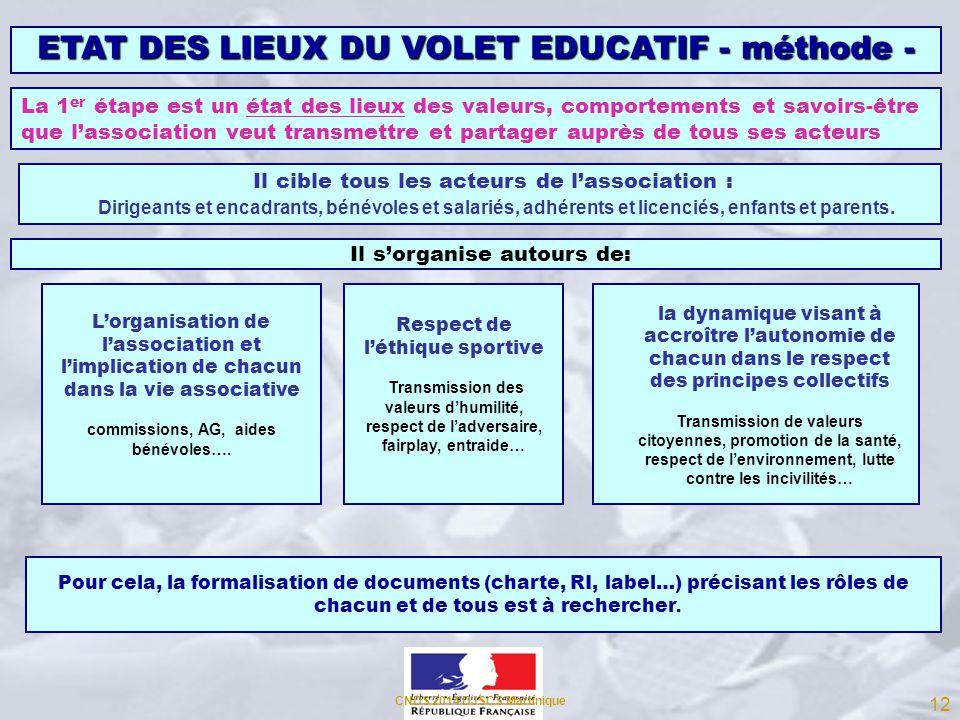 ETAT DES LIEUX DU VOLET EDUCATIF - méthode - La 1 er étape est un état des lieux des valeurs, comportements et savoirs-être que lassociation veut tran