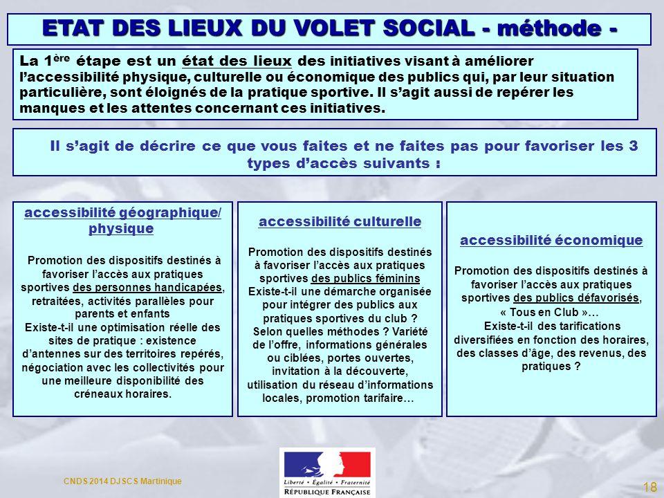 ETAT DES LIEUX DU VOLET SOCIAL - méthode - La 1 ère étape est un état des lieux des initiatives visant à améliorer laccessibilité physique, culturelle