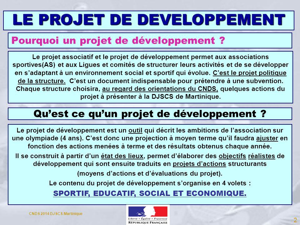 Pourquoi un projet de développement ? Le projet de développement est un outil qui décrit les ambitions de lassociation sur une olympiade (4 ans). Cest
