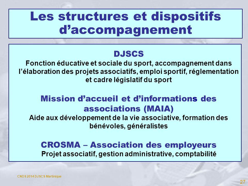 Les structures et dispositifs daccompagnement DJSCS Fonction éducative et sociale du sport, accompagnement dans lélaboration des projets associatifs,