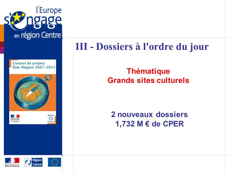 III - Dossiers à l ordre du jour Thématique Grands sites culturels 2 nouveaux dossiers 1,732 M de CPER