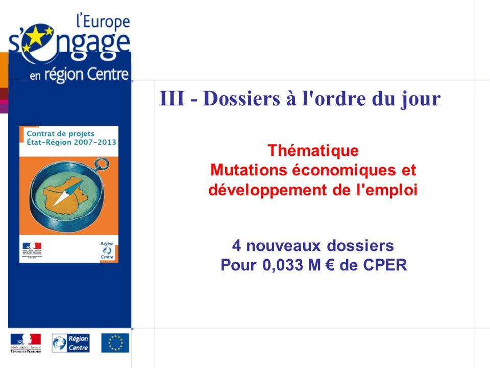 III - Dossiers à l ordre du jour Thématique Mutations économiques et développement de l emploi 4 nouveaux dossiers Pour 0,033 M de CPER