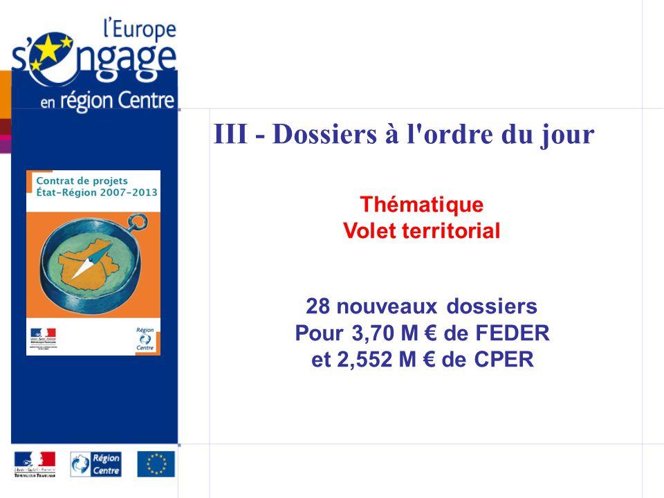 III - Dossiers à l ordre du jour Thématique Volet territorial 28 nouveaux dossiers Pour 3,70 M de FEDER et 2,552 M de CPER