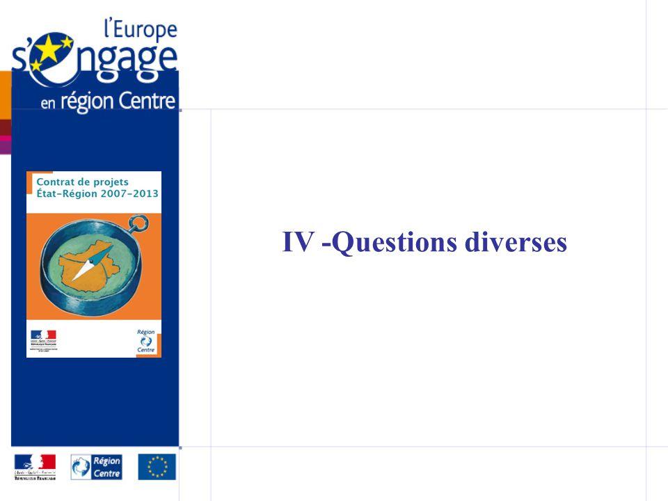 IV -Questions diverses