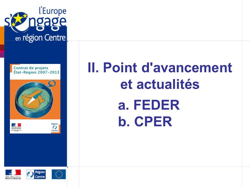 II. Point d avancement et actualités a. FEDER b. CPER