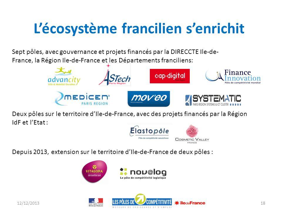 12/12/201318 Sept pôles, avec gouvernance et projets financés par la DIRECCTE Ile-de- France, la Région Ile-de-France et les Départements franciliens: