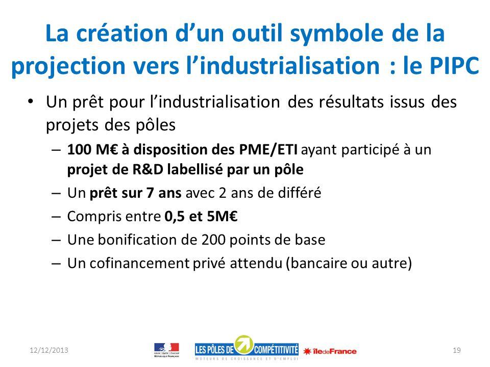 La création dun outil symbole de la projection vers lindustrialisation : le PIPC Un prêt pour lindustrialisation des résultats issus des projets des p