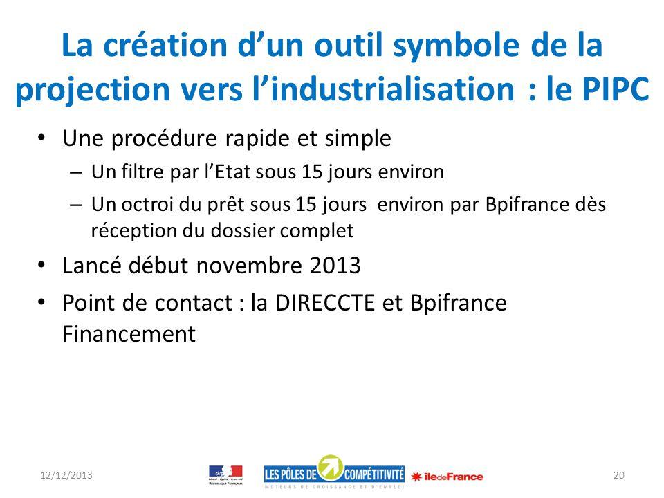 La création dun outil symbole de la projection vers lindustrialisation : le PIPC Une procédure rapide et simple – Un filtre par lEtat sous 15 jours en