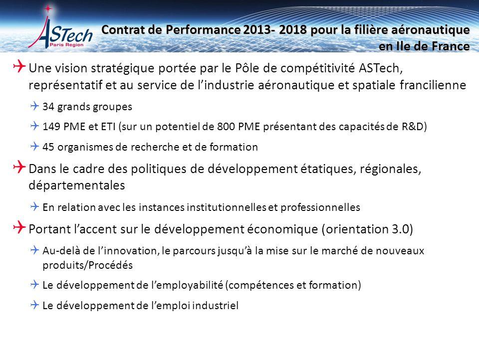 Contrat de Performance 2013- 2018 pour la filière aéronautique en Ile de France Une vision stratégique portée par le Pôle de compétitivité ASTech, rep