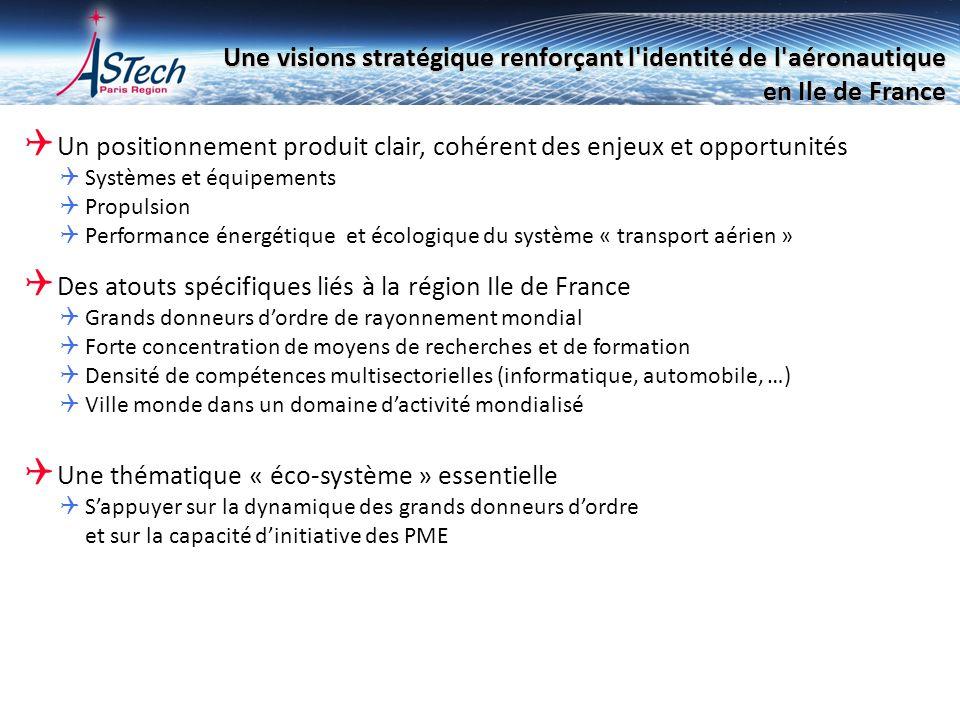 Une visions stratégique renforçant l'identité de l'aéronautique en Ile de France Un positionnement produit clair, cohérent des enjeux et opportunités