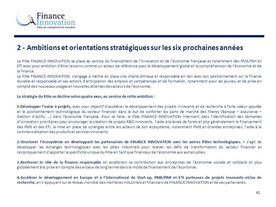 41 2 - Ambitions et orientations stratégiques sur les six prochaines années Le Pôle FINANCE INNOVATION se place au service du financement de linnovati