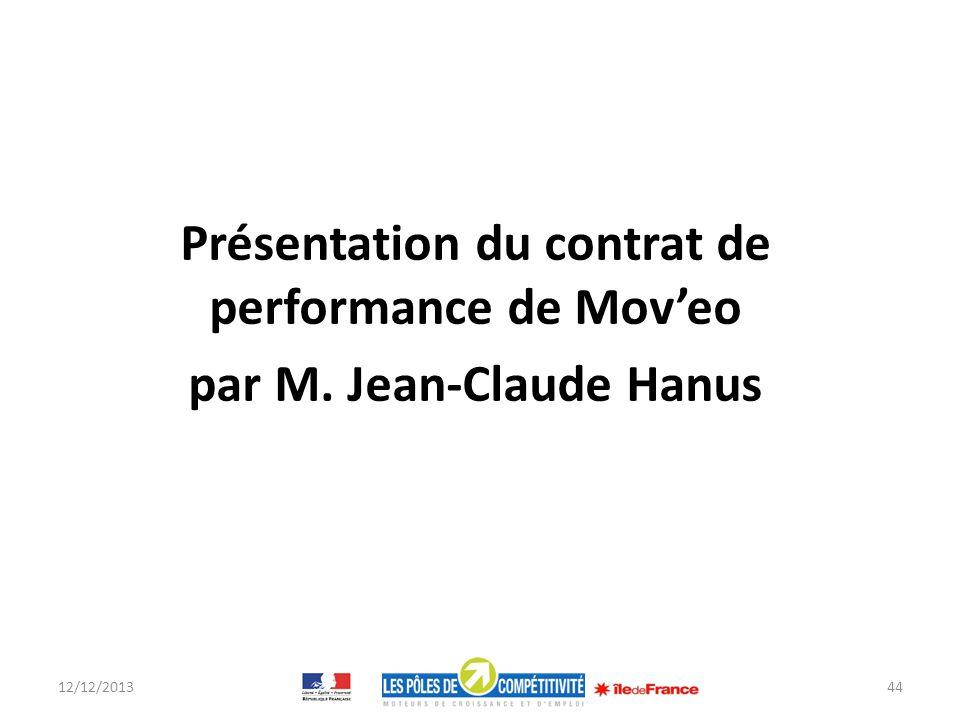 Présentation du contrat de performance de Moveo par M. Jean-Claude Hanus 12/12/201344