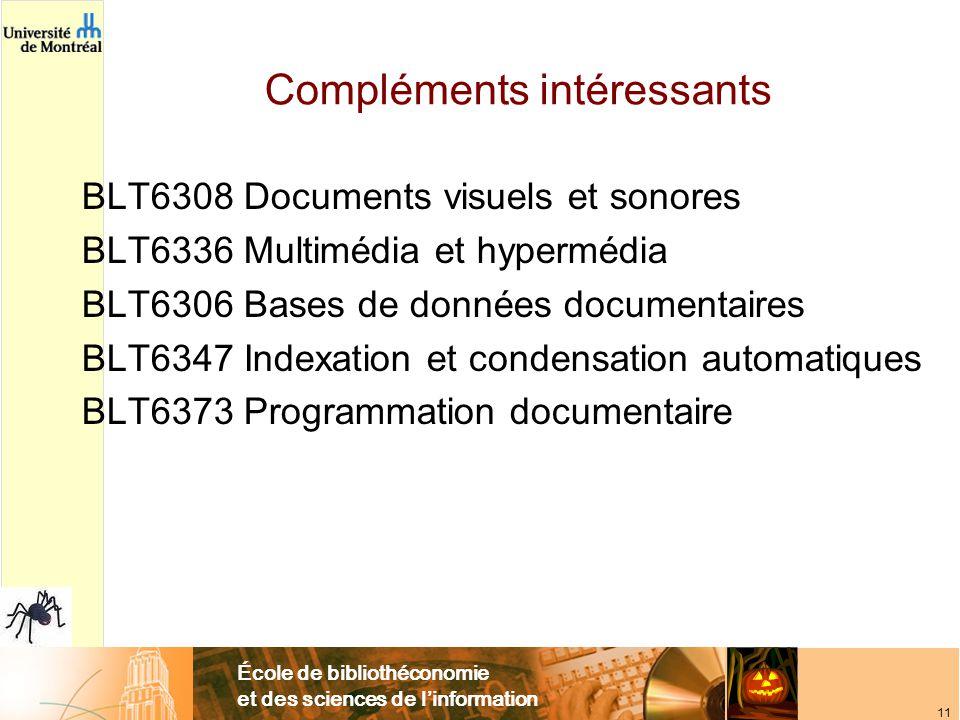 École de bibliothéconomie et des sciences de linformation 11 Compléments intéressants BLT6308 Documents visuels et sonores BLT6336 Multimédia et hypermédia BLT6306 Bases de données documentaires BLT6347 Indexation et condensation automatiques BLT6373 Programmation documentaire