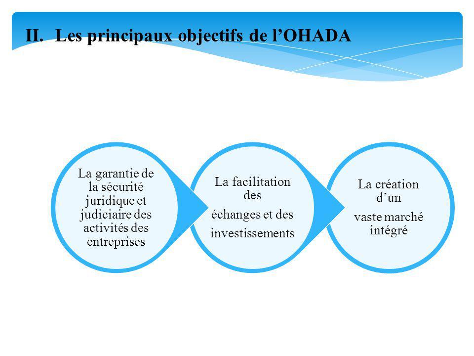 II.Les principaux objectifs de lOHADA La création dun vaste marché intégré La facilitation des échanges et des investissements La garantie de la sécurité juridique et judiciaire des activités des entreprises