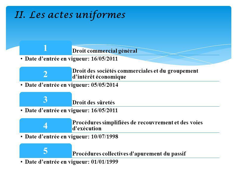 II.Les actes uniformes Droit commercial général 1 Date dentrée en vigueur: 16/05/2011 Droit des sociétés commerciales et du groupement dintérêt économique 2 Date dentrée en vigueur: 05/05/2014 Droit des sûretés 3 Date dentrée en vigueur: 16/05/2011 Procédures simplifiées de recouvrement et des voies d exécution 4 Date dentrée en vigueur: 10/07/1998 Procédures collectives d apurement du passif 5 Date dentrée en vigueur: 01/01/1999