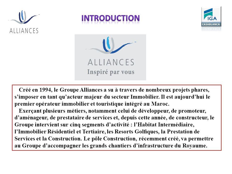 Créé en 1994, le Groupe Alliances a su à travers de nombreux projets phares, simposer en tant quacteur majeur du secteur Immobilier. Il est aujourdhui