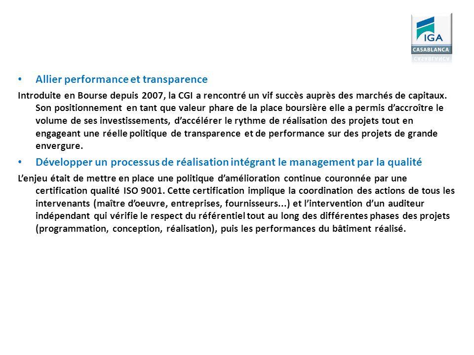 Allier performance et transparence Introduite en Bourse depuis 2007, la CGI a rencontré un vif succès auprès des marchés de capitaux. Son positionneme