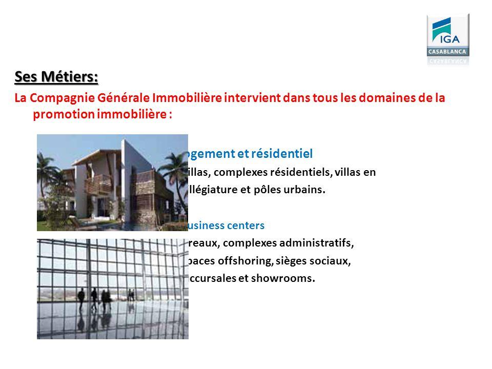 Ses Métiers: La Compagnie Générale Immobilière intervient dans tous les domaines de la promotion immobilière : Logement et résidentiel Villas, complex