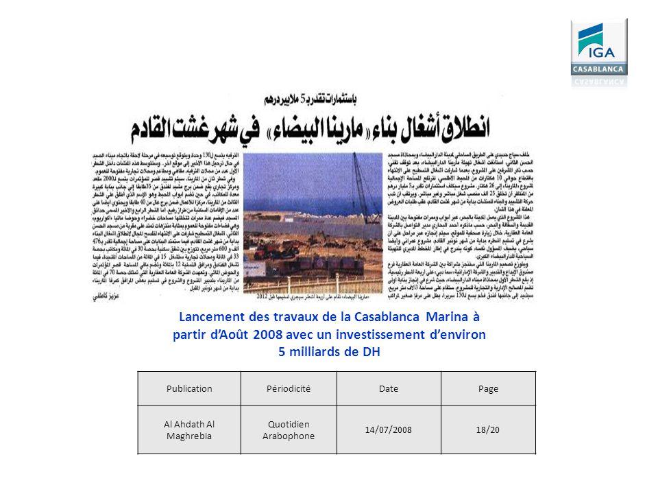 PublicationPériodicitéDatePage Al Ahdath Al Maghrebia Quotidien Arabophone 14/07/200818/20 Lancement des travaux de la Casablanca Marina à partir dAoû