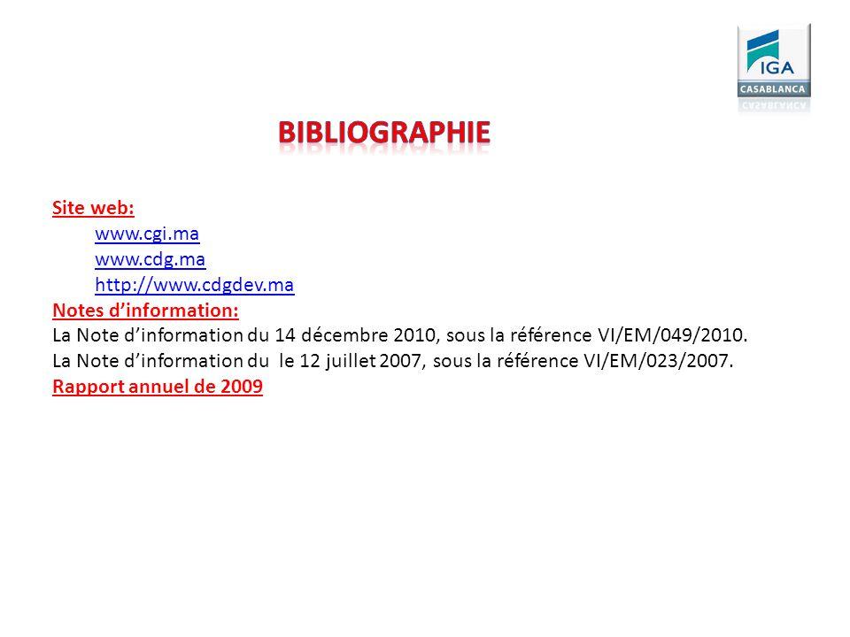 Site web: www.cgi.ma www.cdg.ma http://www.cdgdev.ma Notes dinformation: La Note dinformation du 14 décembre 2010, sous la référence VI/EM/049/2010. L