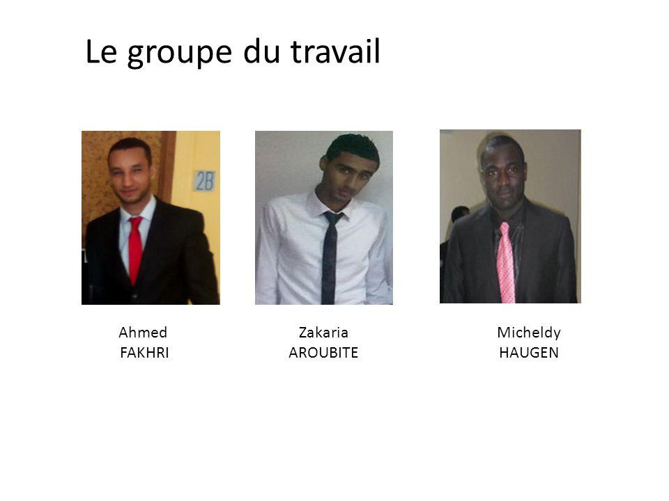 Le groupe du travail Zakaria AROUBITE Ahmed FAKHRI Micheldy HAUGEN