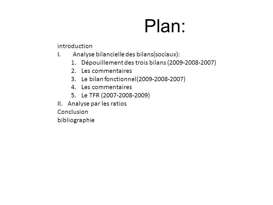 Plan: introduction I.Analyse bilancielle des bilans(sociaux): 1.Dépouillement des trois bilans (2009-2008-2007) 2.Les commentaires 3.Le bilan fonction