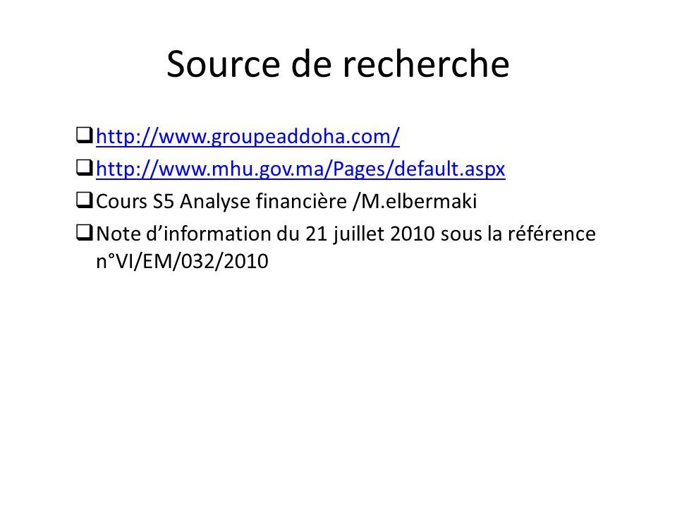 Source de recherche http://www.groupeaddoha.com/ http://www.mhu.gov.ma/Pages/default.aspx Cours S5 Analyse financière /M.elbermaki Note dinformation d